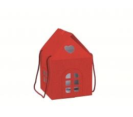 """Dāvanu kastīte ar rokturiem """"Namiņš"""", sarkans (20X20X18 cm)"""