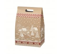 """Dāvanu kastīte ar rokturiem """"Sniega ciems"""" (28X20X41 cm)"""