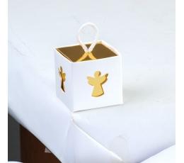 """Dāvanu kastīte ar vāku un dekoratīviem izgriezumiem """"Eņģelis"""" (5x5x5 cm)"""
