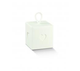 """Dāvanu kastīte ar vāku un dekoratīviem izgriezumiem """"Sirsniņa"""" balta (10x10x10 cm)"""