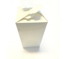 """Dāvanu kastīte """"Ziediņš"""", balta  (9x9x18 cm)"""