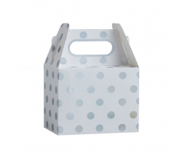 Dāvanu kastītes, baltas ar sudraba punktiem (5 gab)