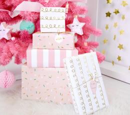 Dāvanu papīrs, rozā ar spīdumiem (2 gab/70x200 cm) 1