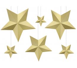 """Dekorāciju komplekts """"Zelta zvaigznes"""" (6 gab)"""
