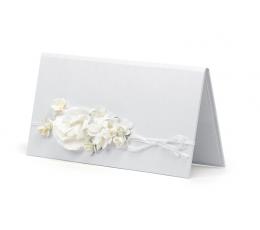 Dekoratīva naudas aploksne, balta ar ziediem (1 gab.)