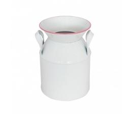 Dekoratīva piena krūze, balta ar rozā apmali (12 x 17 cm)