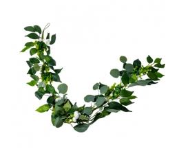 """Dekoratīva vītne """"Eikalipts ar peonijas ziediem"""" (1,4 cm)"""
