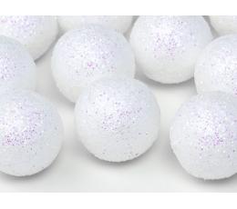 Dekoratīvas bumbiņas, baltas -spīdīgas (9 gab/ 3 cm)