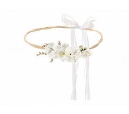 Dekoratīvs vainags ar baltiem ziediem (18 cm)