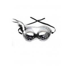 Domino maska, sudraba ar spalvu
