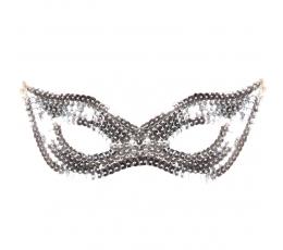 Domino maska, sudraba spīdīga