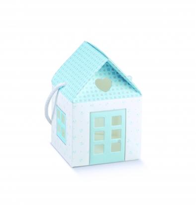 """Dāvanu kastīte ar lodziņiem """"Namiņš"""", zila (10X10X9 cm)"""