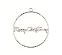 """Etiķete-dekorācija """"Merry Christmas"""", sudraba metāla"""