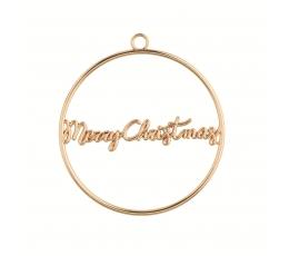 "Etiķete-dekorācija ""Merry Christmas"", zelta metāla"