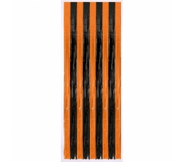 Folija aizkari strīpaini melni-oranži (243 x 91 cm)