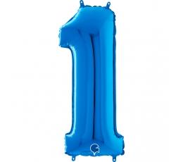 """Folija balons """"1"""", zils (66 cm)"""