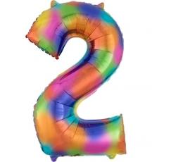 """Folija balons """"2"""" varavīksnes krāsās (83 cm)"""