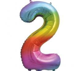 """Folija balons """"2"""" varavīksnes krāsās (86 cm)"""