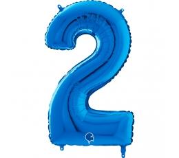 """Folija balons """"2"""", zils (66 cm)"""