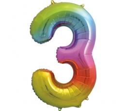 """Folija balons """"3"""" varavīksnes krāsās (86 cm)"""