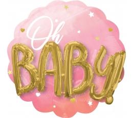 "Folija balons 3D ""Oh baby"", rozā (70 cm)"
