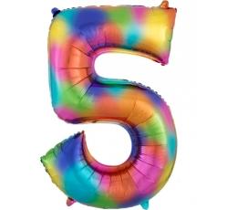 """Folija balons """"5"""" varavīksnes krāsās (83 cm)"""