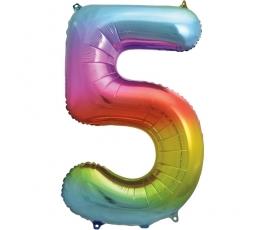"""Folija balons """"5"""" varavīksnes krāsās (86 cm)"""