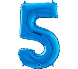 """Folija balons """"5"""", zils (66 cm)"""
