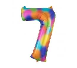 """Folija balons """"7"""" varavīksnes krāsās (88 cm)"""