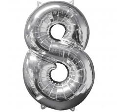 "Folija balons ""8"", sudraba (66 cm)"