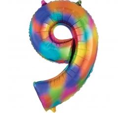 """Folija balons """"9"""" varavīksnes krāsās (86 cm)"""