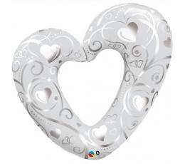 "Folija balons ""Balta sirds"" (107 cm)"