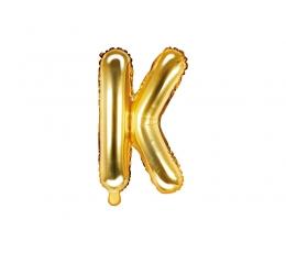 "Folija balons -burts ""K"", zelta (35 cm)"