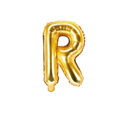 "Folija balons -burts ""R"", zelta (35 cm)"