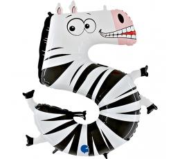 "Folija balons - cipars ""5 - Zebra"" (102 cm)"
