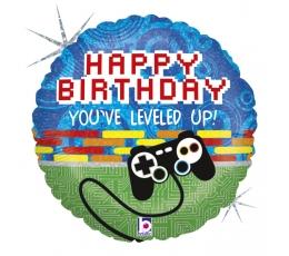 """Folija balons """"Datorspēle - Daudz laimes dzimšanas dienā"""" (46 cm)"""