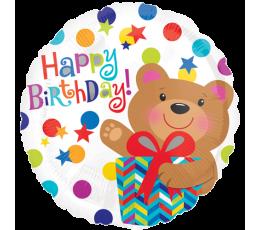 """Folija balons """"Dzimšana diena ar lācīti"""" (43 cm)"""