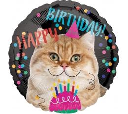 """Folija balons """"Dzimšanas dienas kaķis"""" (43 cm)"""