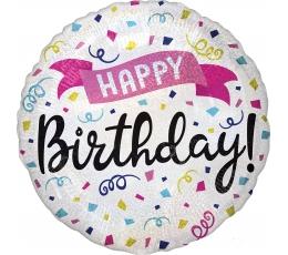 """Folija balons """"Dzimšanas dienas konfeti"""", hologrāfisks (45 cm)"""