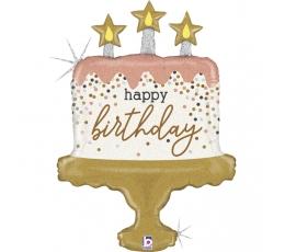 """Folija balons """"Dzimšanas dienas torte"""", hologrāfisks (84 cm)"""