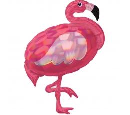 """Folija balons """"Flamingo"""" formā, hologrāfisks (71 x 83 cm)"""