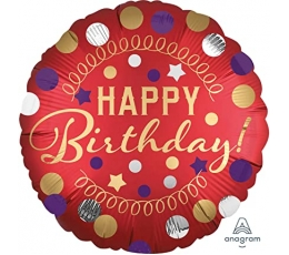 "Folija balons  ""Happy Birthday Dots"" (45 cm)"