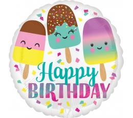 "Folija balons ""Happy Birthday Ice Cream"" (43 cm)"