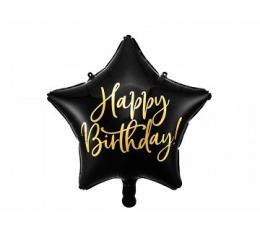 """Folija balons """"Happy Birthday"""", melns (40 cm)"""