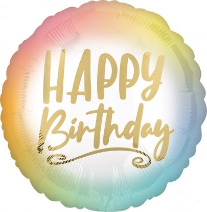 "Folija balons ""Happy birthday"", ombre - zelta (43 cm)"