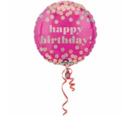 """Folija balons """"Happy birthday """", rozā ar zelta punktiņiem (45 cm)"""