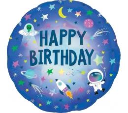 "Folija balons ""Happy Birthday Space"" (45 cm)"