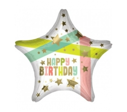 "Folija balons ""Happy Birthday Star"" (48 cm)"