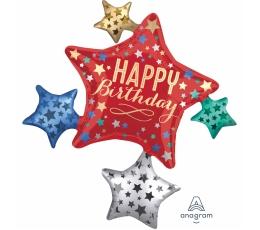 "Folija balons  ""Happy Birthday Stars"" (88x81 cm)"