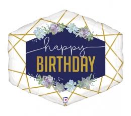 """Folija balons """" Happy birthday -Ziedi """" (76 cm)"""